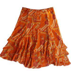 Coldwater Creek Ruffle Hem Elastic Waist Skirt